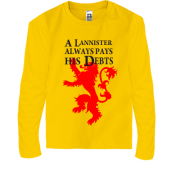 Детский лонгслив a lannister always pays his debts