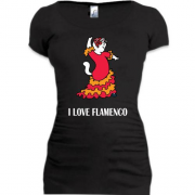 Подовжена футболка i love flamenco