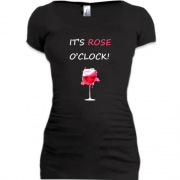 Подовжена футболка з написом It's rose o'clock